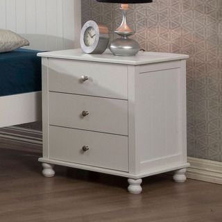White Anderson 3 drawer Nightstand