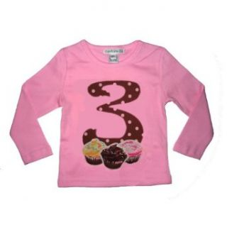 3rd Birthday Cupcake Long Sleeve Shirt in Pink and Brown