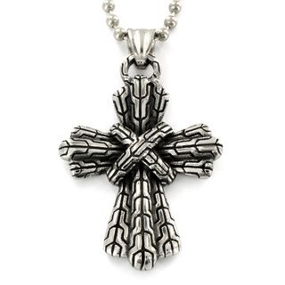 Stainless Steel Cast Pattern Bound Cross Necklace