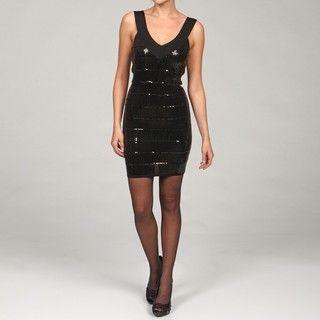 La Cite Womens Black V neck Sequin Dress FINAL SALE