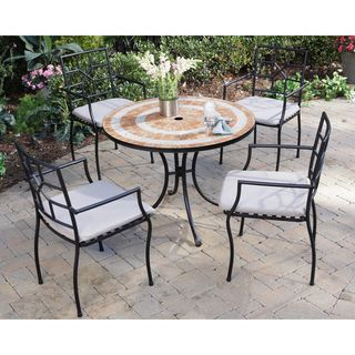 Valencia Terra Cotta Tile Top Table and Cambria Arm Chairs 5 piece
