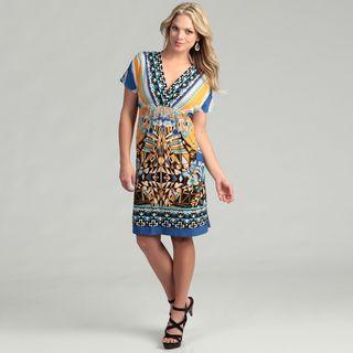 Emma & Michelle Womens Orange/ Blue Print Dress