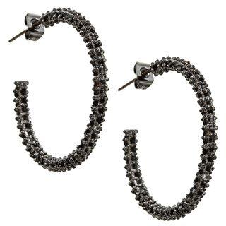 Silvertone Pave Black Onyx or Clear Cubic Zirconia Hoop Earrings