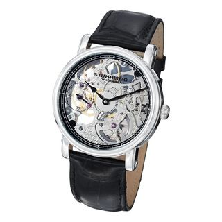 Stuhrling Original Mens Avon Mechanical Skeleton Leather Strap Watch