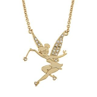 Disney Goldplated Clear Glass Tinkerbell Necklace