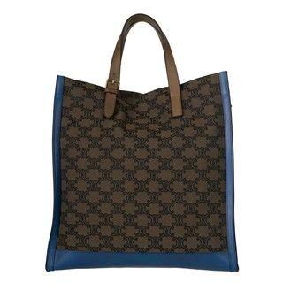 Celine Dark Brown/Royal Blue Canvas/Leather Oversize Shopper Bag