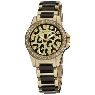 Vernier Ladies Fashion Leopard Print Genuine Crystal Stones Bracelet