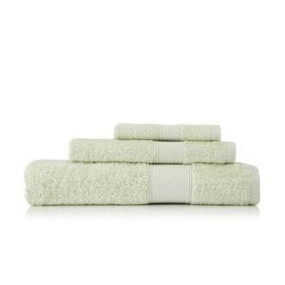 Pima Cotton Diamond Tile Border Celery 3 piece Towel Set