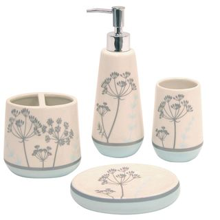 Waverly Simplicity Blue Boutique Ceramic 4 piece Bath Accessory Set