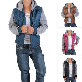 Journee Collection Kids PU Leather Knit sleeve Varsity Jacket