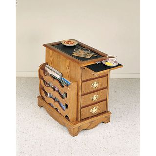 Nostalgic Oak Cabinet Table with Magazine Rack