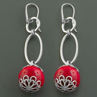 Stainless Steel Murano Glass Bead Dangle Earrings (Italy)