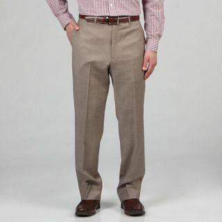 Tommy Hilfiger Mens Trim Fit Tan Sharkskin Wool Dress Pants