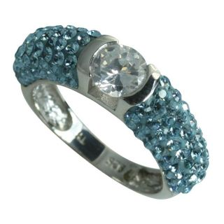 Sterling Silver Clear and Blue Crystal Ring