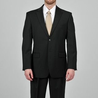 Jones New York Mens Black Classic Wool Suit