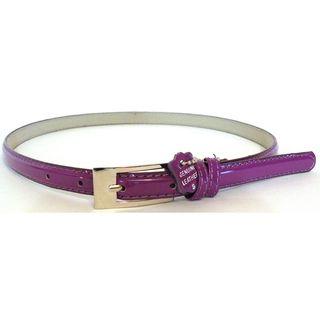 Womens Purple Patent Leather Skinny Belt