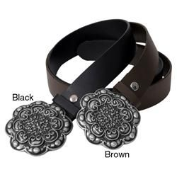 Journee Collection Womens Filigree Detail Metal Buckle Leather Belt