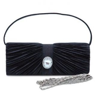 Pleated Flap Over Front Clutch With Crystal Rhinestone