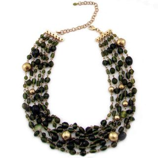 Handmade Brass and Olive Glass Bead Necklace (India)