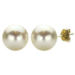 DaVonna 14k Yellow Gold White FW Pearl Stud Earrings (10 11 mm