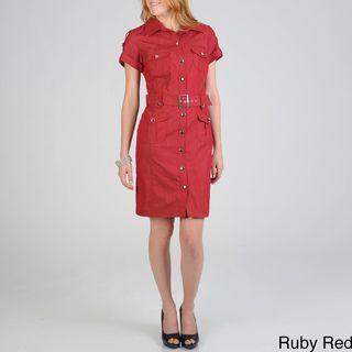 Sharagano Womens Denim Shirt Dress