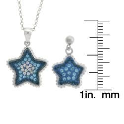 Sterling Silver Blue and White Crystal Star Jewelry Set