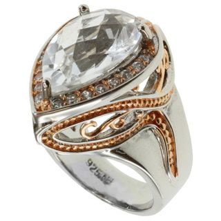 Michael Valitutti Two tone Rock Crystal and Pink Tourmaline Ring