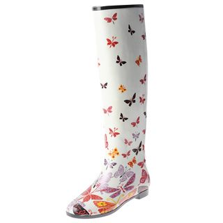 Henry Ferrera Womens Knee high Butterfly Printed Rubber Rain Boots