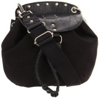 Will Leather Goods Womens Claude Drawstring Bag, Black