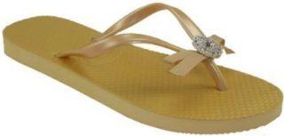 Rosette Womens Black Bronze Flip Flops (Medium, Honey) Shoes