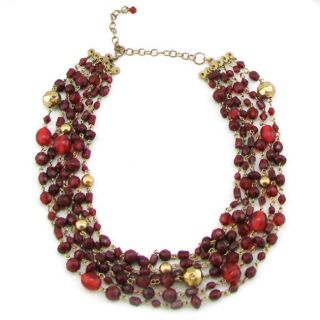 Handmade Brass and Burgundy Glass Bead Necklace (India)