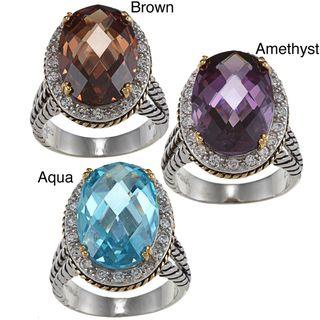La Preciosa Two tone Sterling Silver Colored Cubic Zirconia Oval Ring