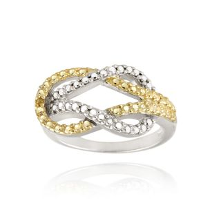 18k Yellow gold Over Silver Yellow Diamond Accent Love Knot Ring