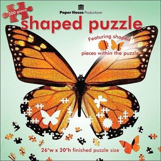 Paper House Monarch In Flight 500 piece Shaped Jigsaw Puzzle