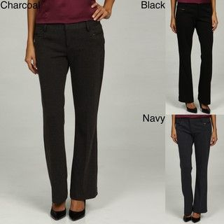 Jennifer & Grace Womens Flat Front Ponte Pants