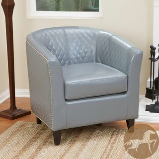 Christopher Knight Home Mia Grey Leather Quilted Club Chair