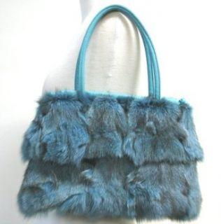 Fox Fur Leather Trimmed Purse Handbag Turquoise Aqua Blue