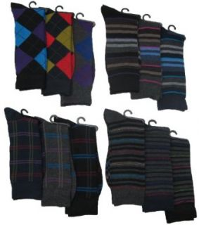 Mens Pattern Dress Socks, 12 Pair, Pattern Variety, Size