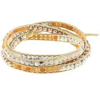 Tan Leather White FW Pearl and Faux Stone Bracelet (4 mm)