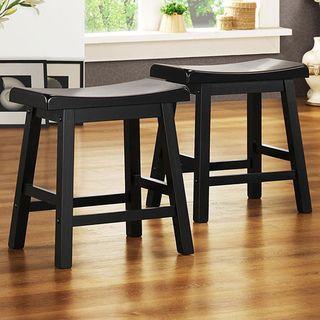 Saddle Seat 18 inch Black Barstools (Set of 2)