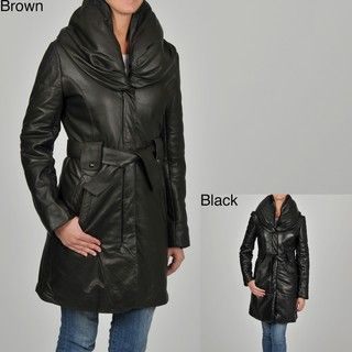 Knoles & Carter Womens Puff Collar Quilted Sleeves Belted Leather