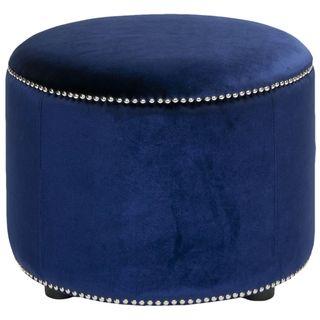 Florentine Royal Blue Velvet Round Ottoman