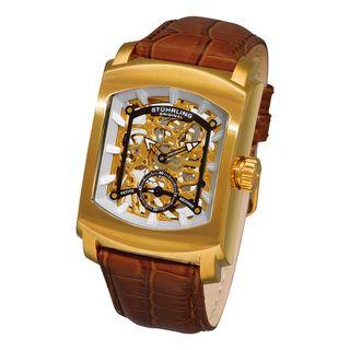Stuhrling Original Mens Midtown Banker Skeleton Leather Strap Watch