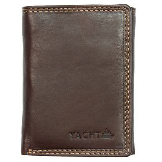 Yacht Fashion Mens Leather Wallet Tri fold Brown Design