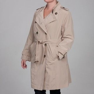 London Fog Womens Plus Size Tan Belted Trench Coat