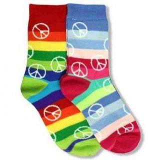 Rainbow Peace Signs & Multi Stripes 2 Pack Socks Clothing