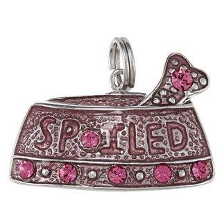 La Preciosa Silver Pink Enamel and Crystal Spoiled Dog Dish Charm