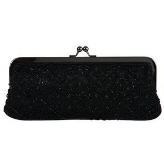 Carlo Fellini Rio Beaded Black Satin Evening Bag