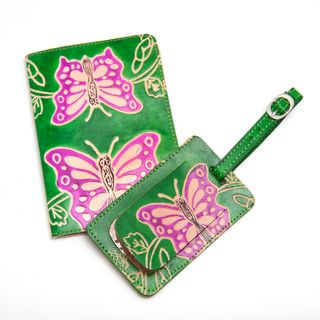 Butterfly Leather Luggage Tag & Passport Holder Travel Set (India