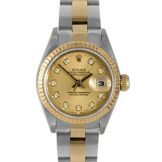 Pre owned Rolex Womens 18k Gold Two tone Diamond Datejust Watch